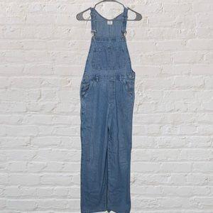 Blue denim overalls, no brand, small